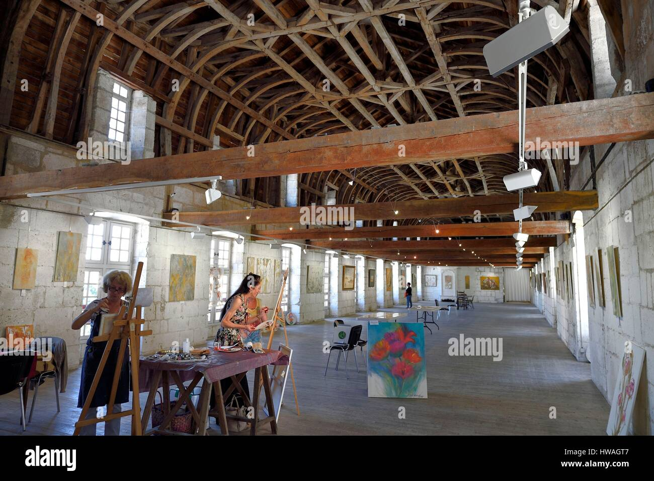 France, Dordogne, Brantome, Saint Pierre benedictine abbey, monks' dormitory with a roof boat shaped - Stock Image