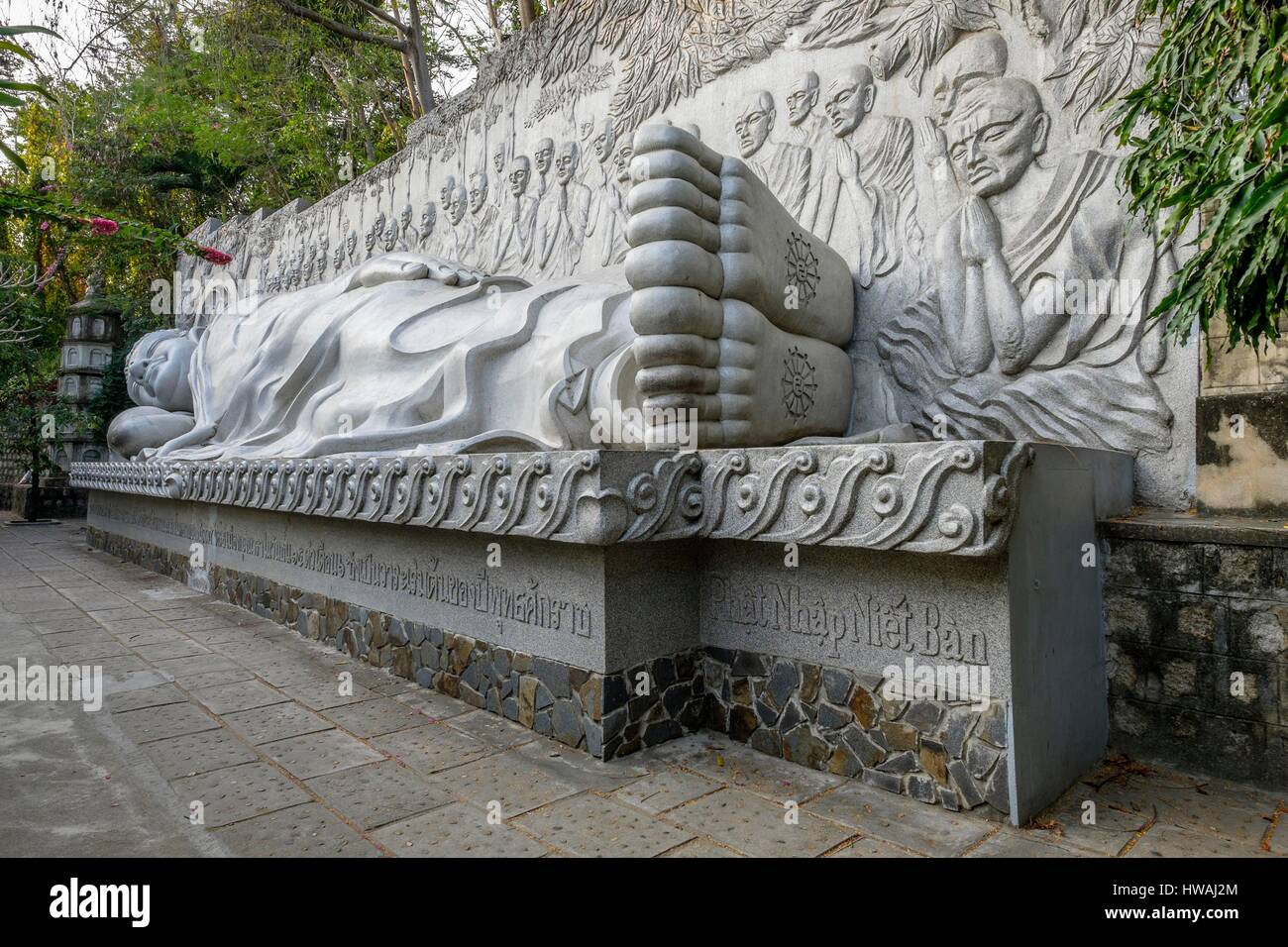 Vietnam, South Central Coast region, Khanh Hoa province, Nha Trang, Long Son pagoda, lying Buddha Stock Photo