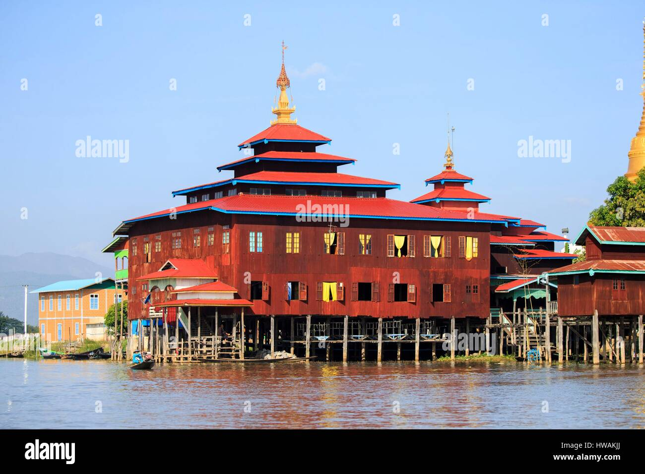 Myanmar, Shan State, Sagar, Inle lake, village, floating village - Stock Image
