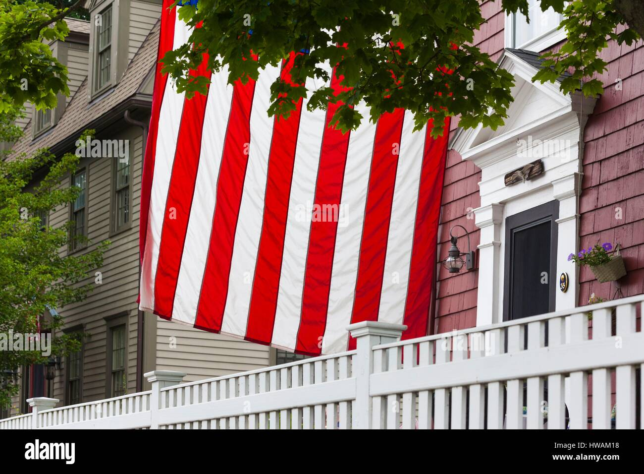 United States, Massachusetts, Cape Ann, Manchester by the Sea, Fourth of July Parade, US flag Stock Photo