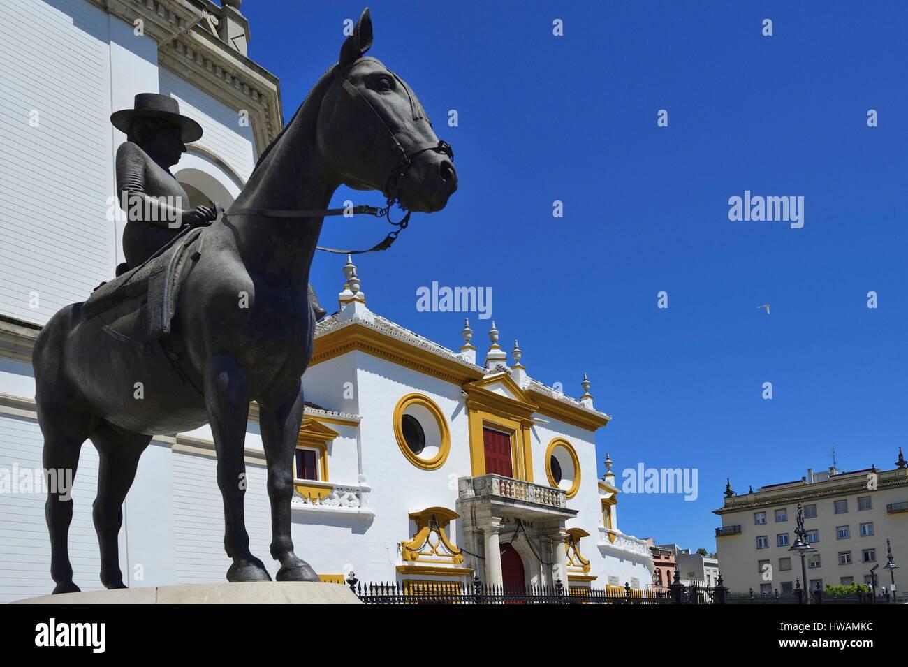 Spain, Andalusia, Seville (Sevilla), Plaza de Toros de la Real Maestranza de Caballeria, bullring - Stock Image