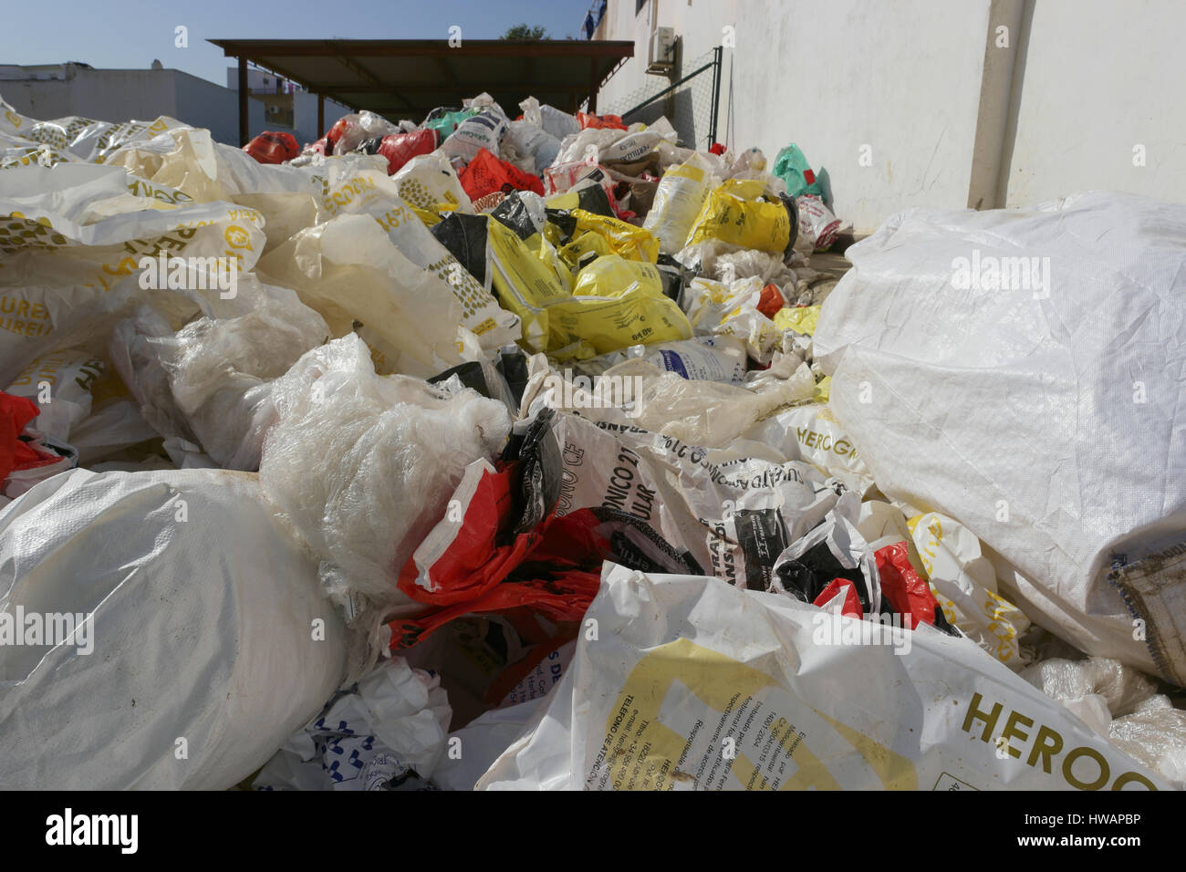 Plastic bags for recycling - Stock Image