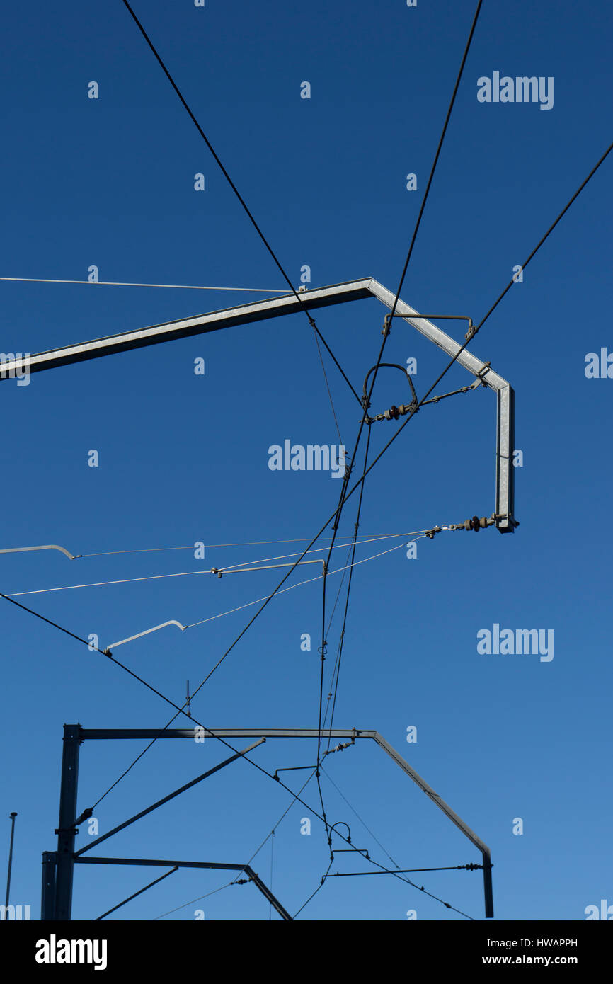 overhead cables - Stock Image