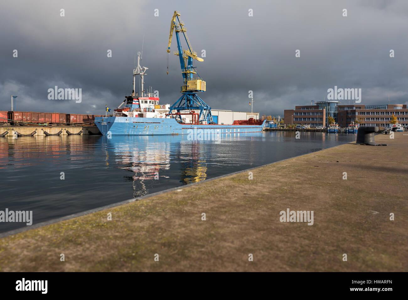 general cargo vessel JUMBO in the port of Wismar - Stock Image