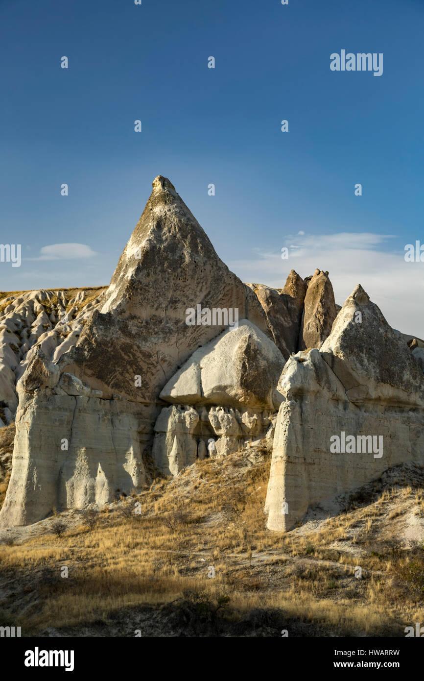 Fairy chimneys and rock fins, Love Valley, Cappadocia, Turkey - Stock Image
