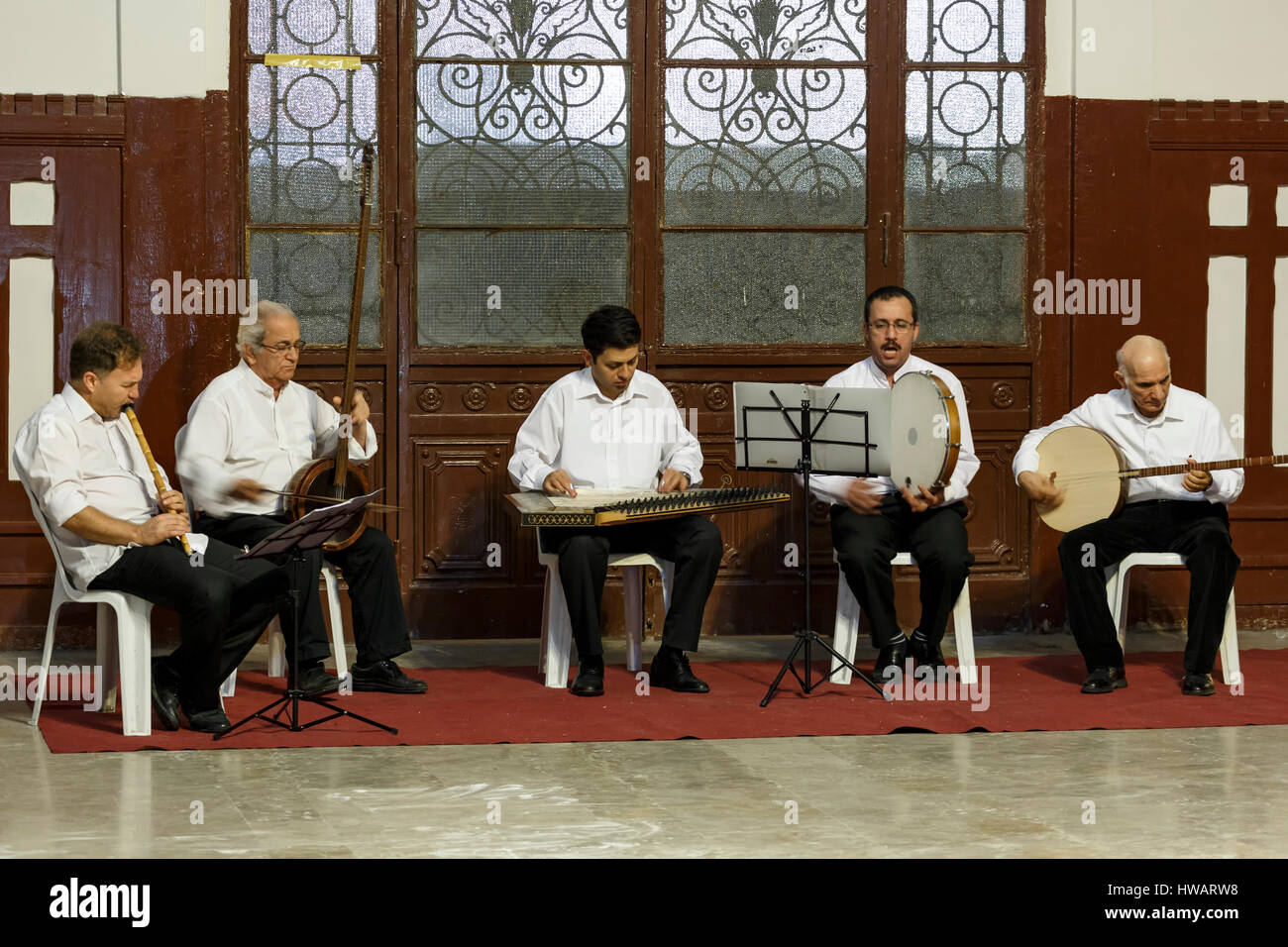 Band of musicians, whirling dervishes ceremony, Sirkeci Train Station, Istanbul, Turkey - Stock Image