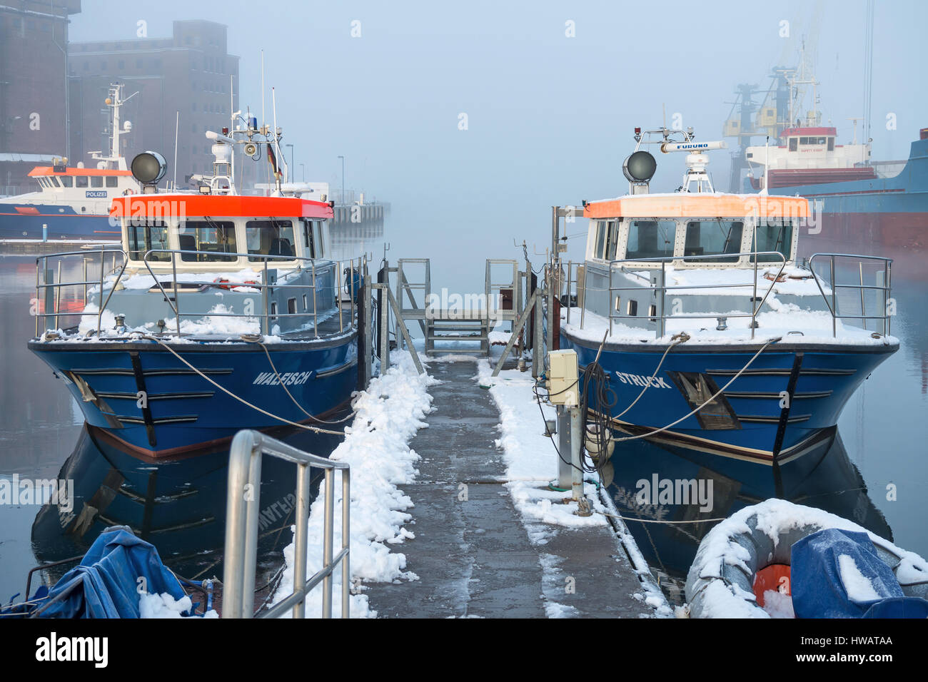 police patrol boats in the port of Wismar - Stock Image