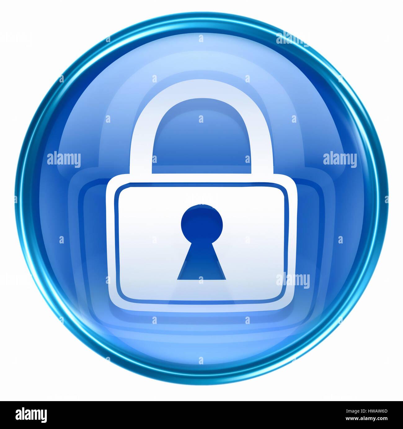 Lock icon blue, isolated on white background. - Stock Image