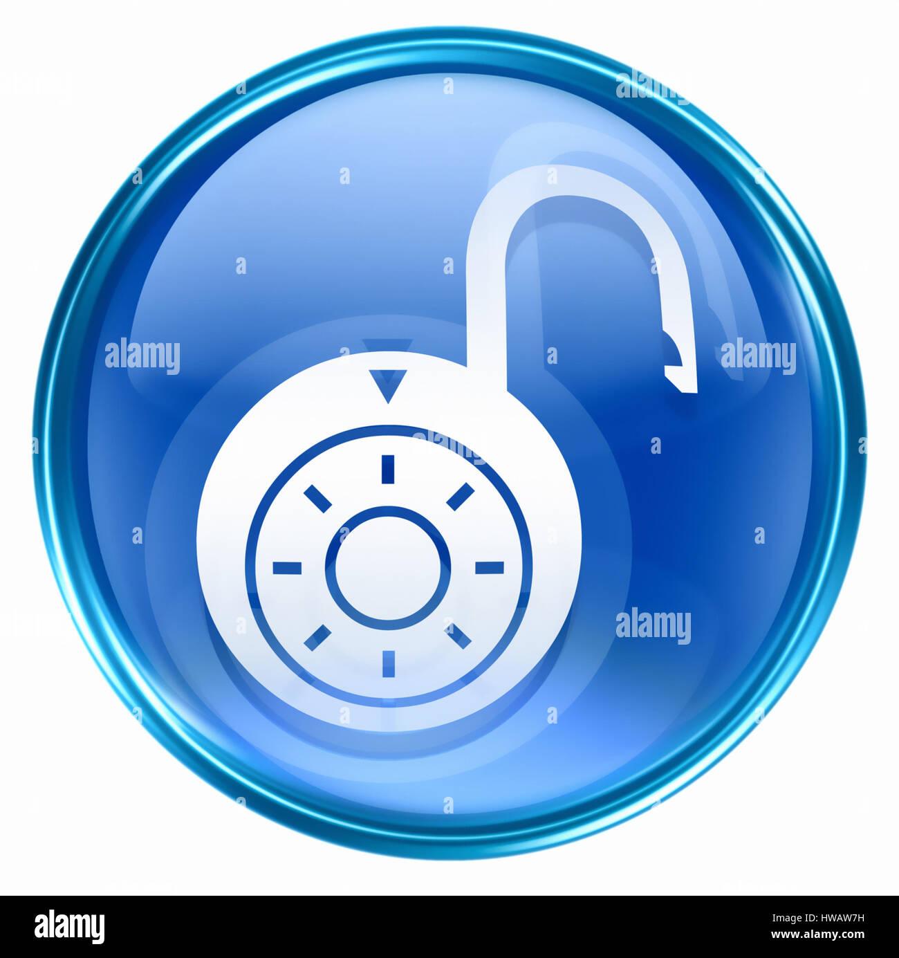 Lock on, icon blue, isolated on white background. - Stock Image