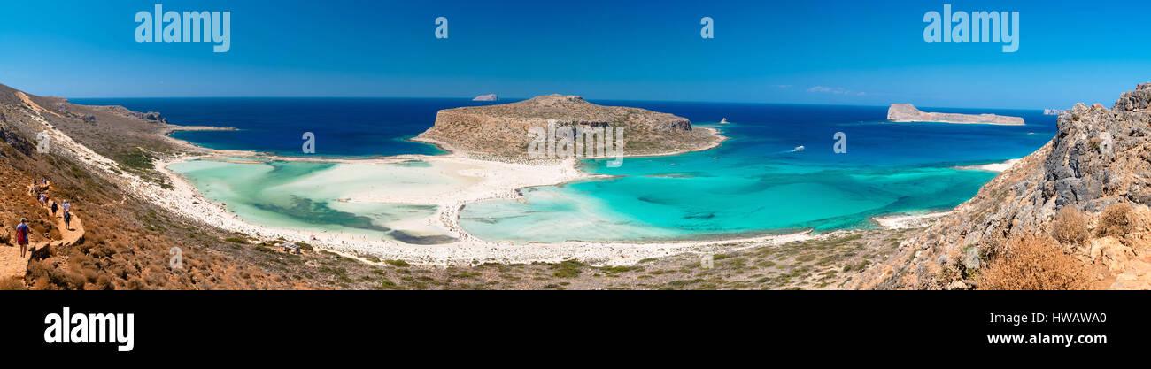 Panoramic view of Balos lagoon and Gramvousa beach, western Crete, Greece Stock Photo