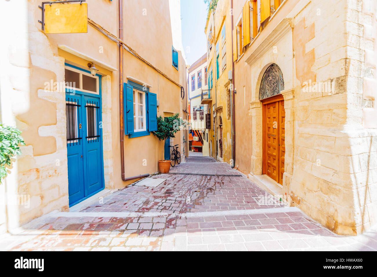 Romantic old stone and cobblestone streets of Chaina, Crete island, Greece Stock Photo
