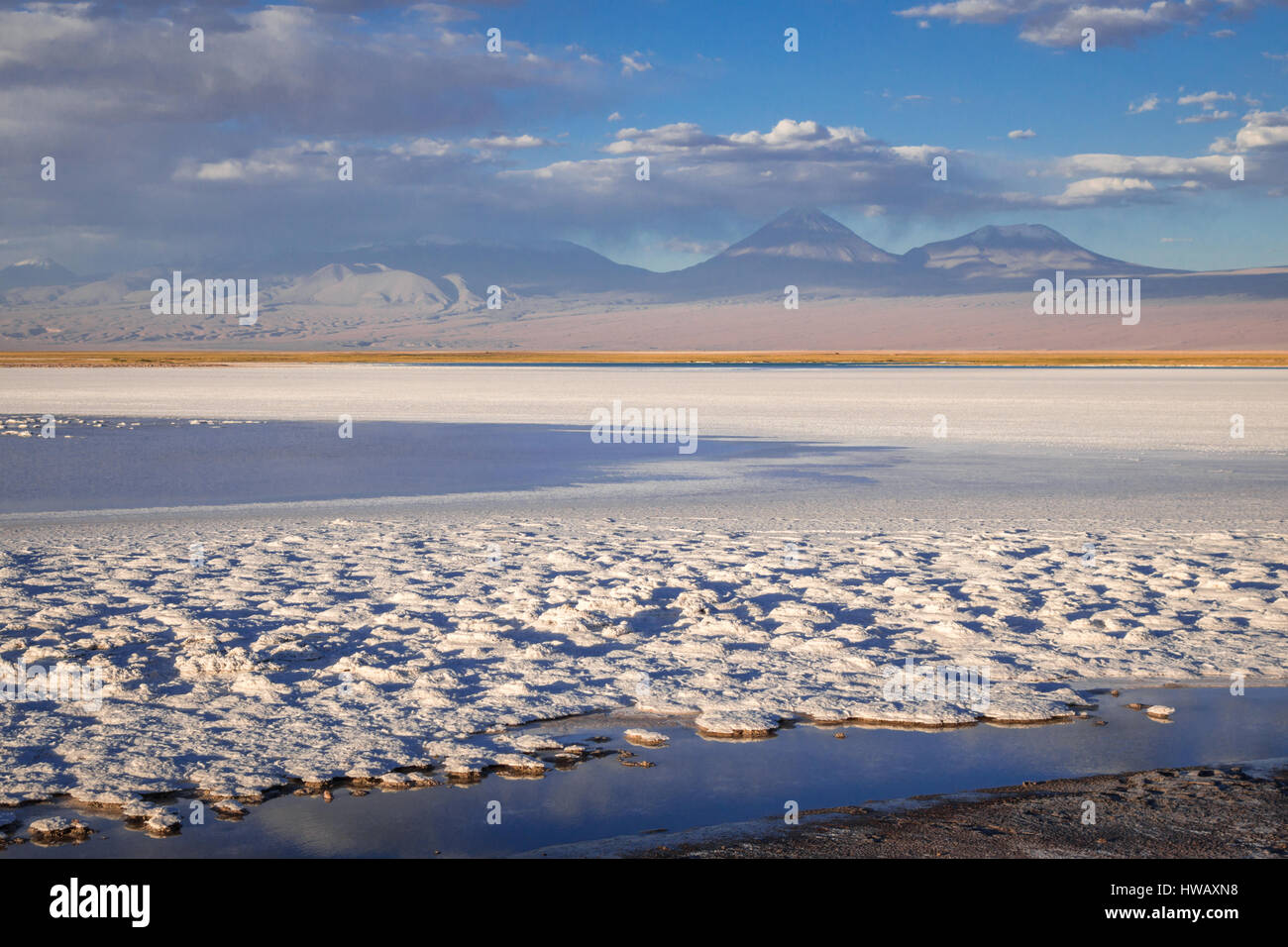 Laguna Tebinquinche sunset landscape in San Pedro de Atacama, Chile - Stock Image