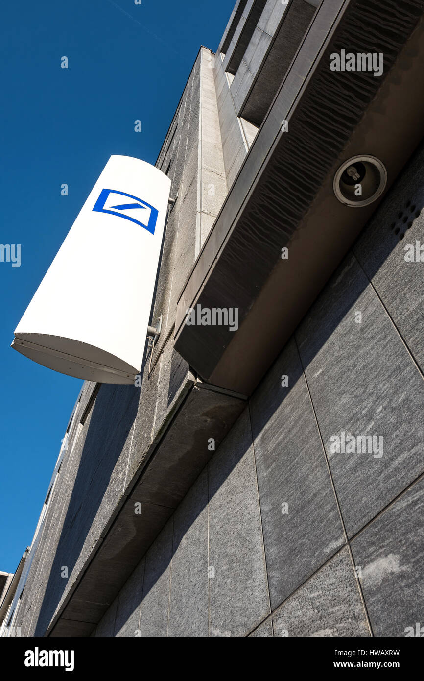 Deutsche Bank sign at branch - Stock Image