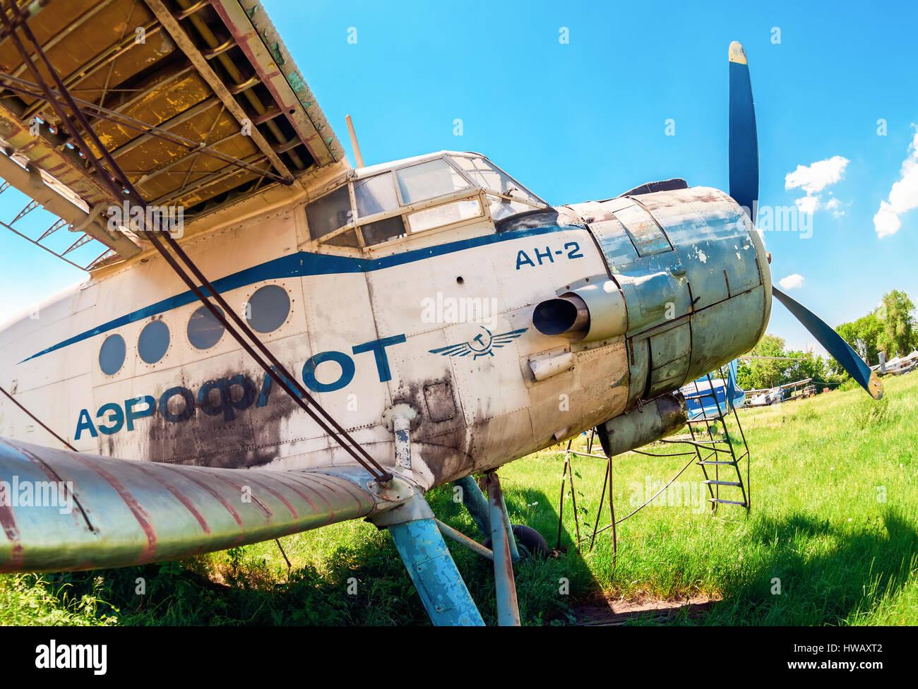 SAMARA, RUSSIA - MAY 25, 2014: Old russian aircraft An-2 at an abandoned aerodrome in summertime. The Antonov An - Stock Image