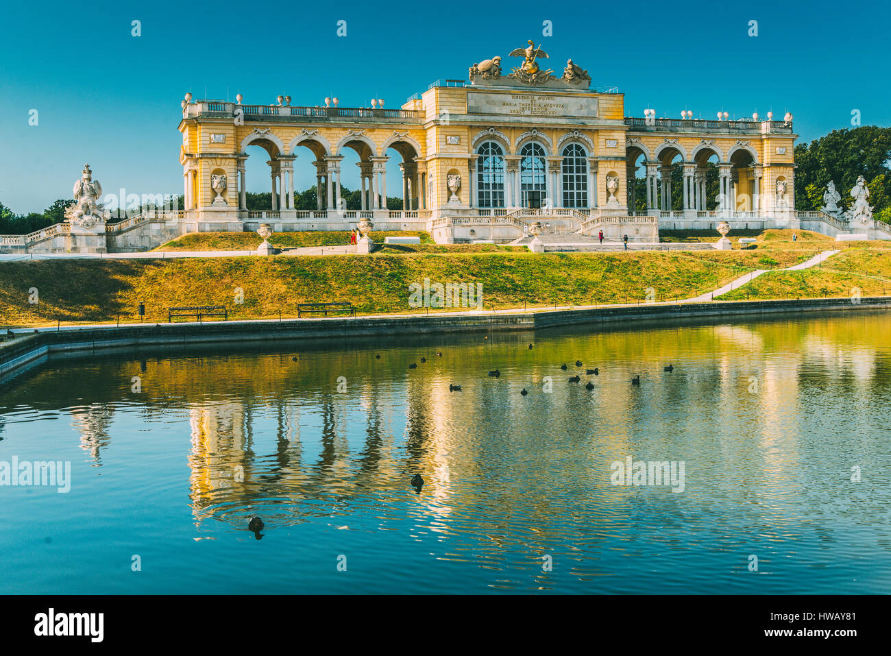 Gloriette in Schoenbrunn Palace garden in summer early morning light, Vienna, Austria Stock Photo