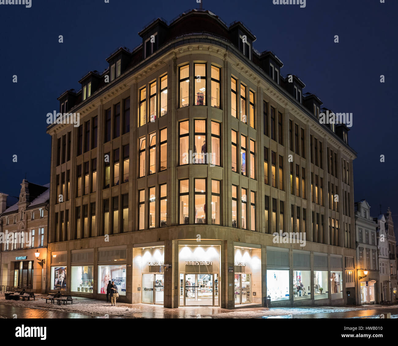 Karstadt original company building in Wismar opened by Rudolph Karstadt on May 14, 1881 Stock Photo