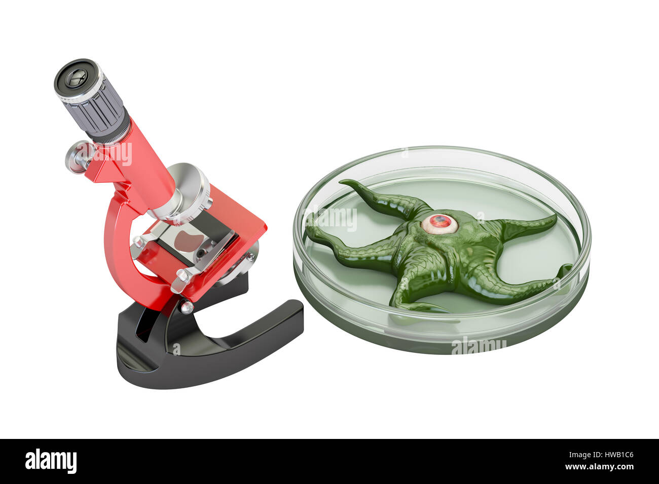 laboratory microscope with living organism, scientific experiments and discoveries concept. 3D rendering - Stock Image
