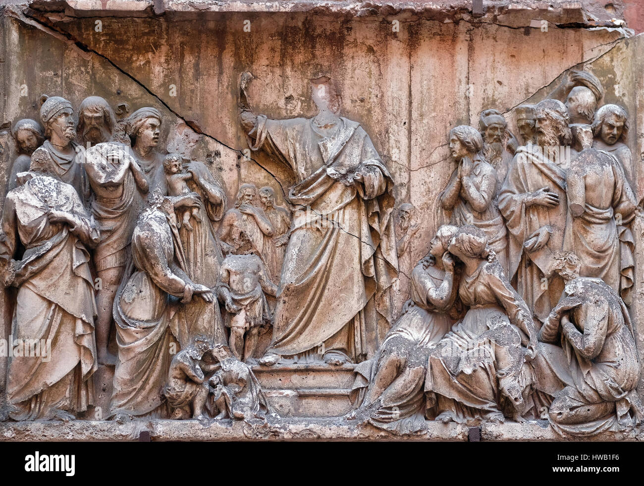 Bass relief in Basilica of Saint Sylvester the First (San Silvestro in Capite) in Rome, Italy on September 03, 2016. - Stock Image