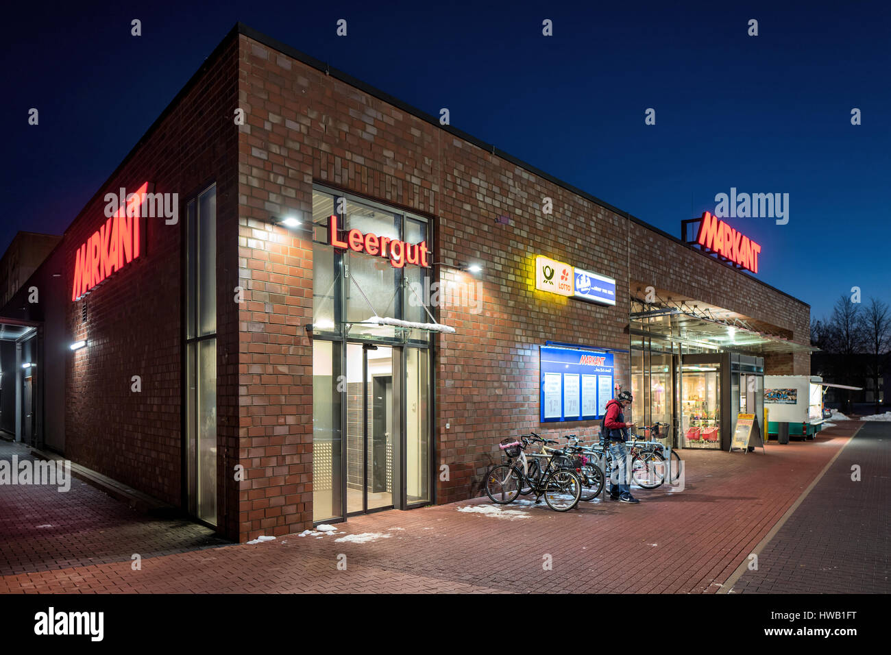 Markant supermarket in Wismar in the dark. Markant operates over 30 supermarkets in the North of Germany. - Stock Image