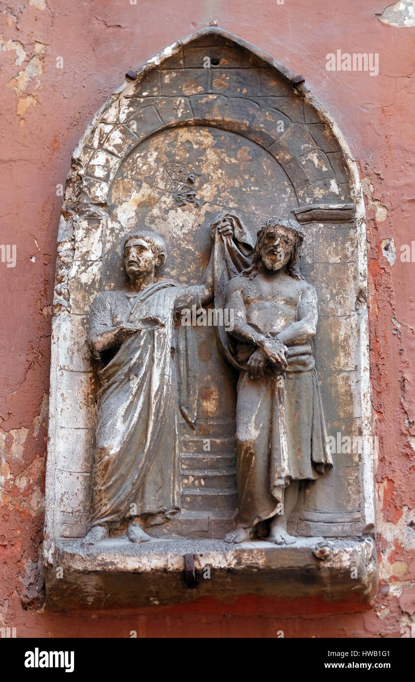 Ecce Homo, bass relief in Basilica of Saint Sylvester the First (San Silvestro in Capite) in Rome, Italy on September Stock Photo
