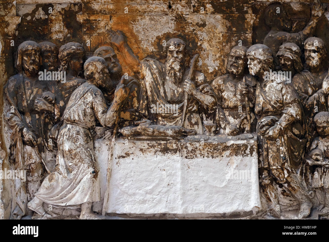 Bass relief in Basilica of Saint Sylvester the First (San Silvestro in Capite) in Rome, Italy on September 03, 2016. Stock Photo