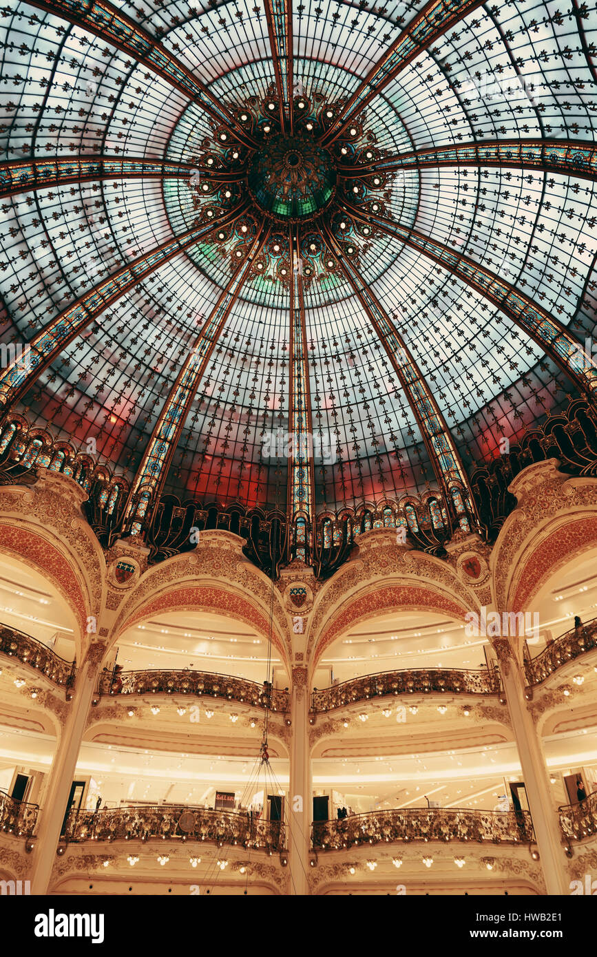 PARIS, FRANCE - MAY 13: Galeries Lafayette interior view on May 13, 2015 Designed by architect Georges Chedanne Stock Photo