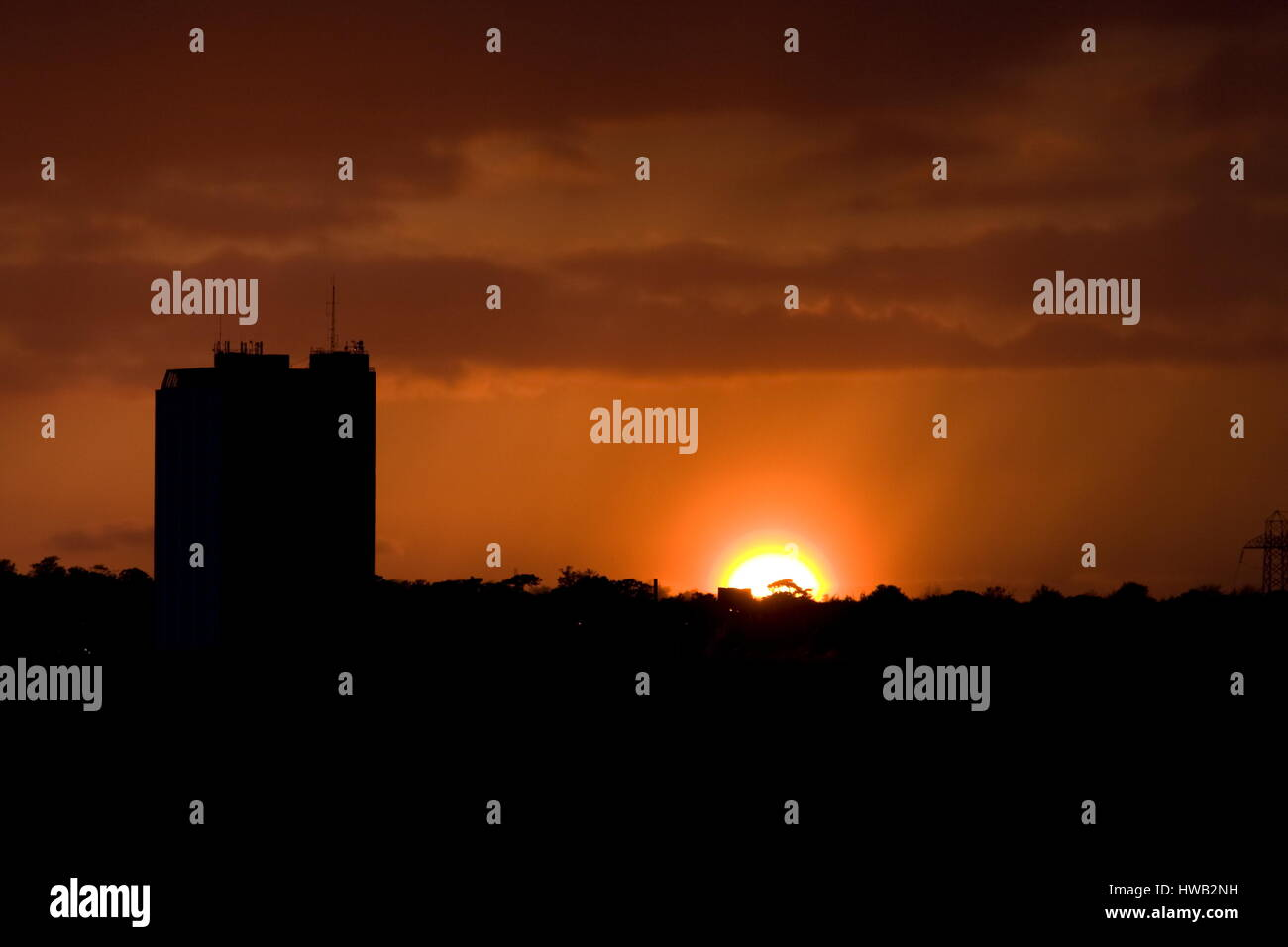 Setting Sun over the A.A. Building,Basingstoke,Hampshire - Stock Image