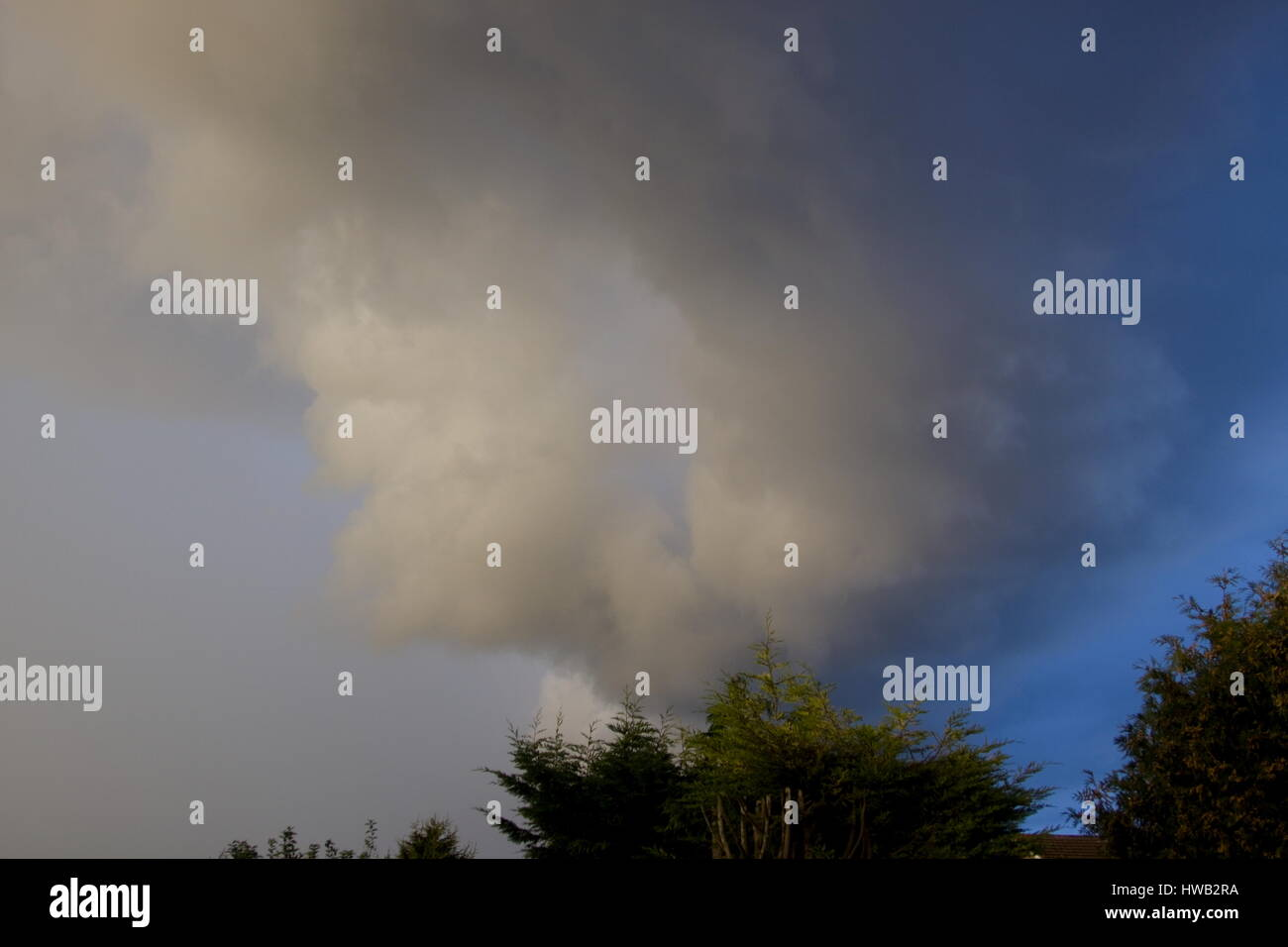 Stratus cloud  Storm cloud appearing overhead Stock Photo