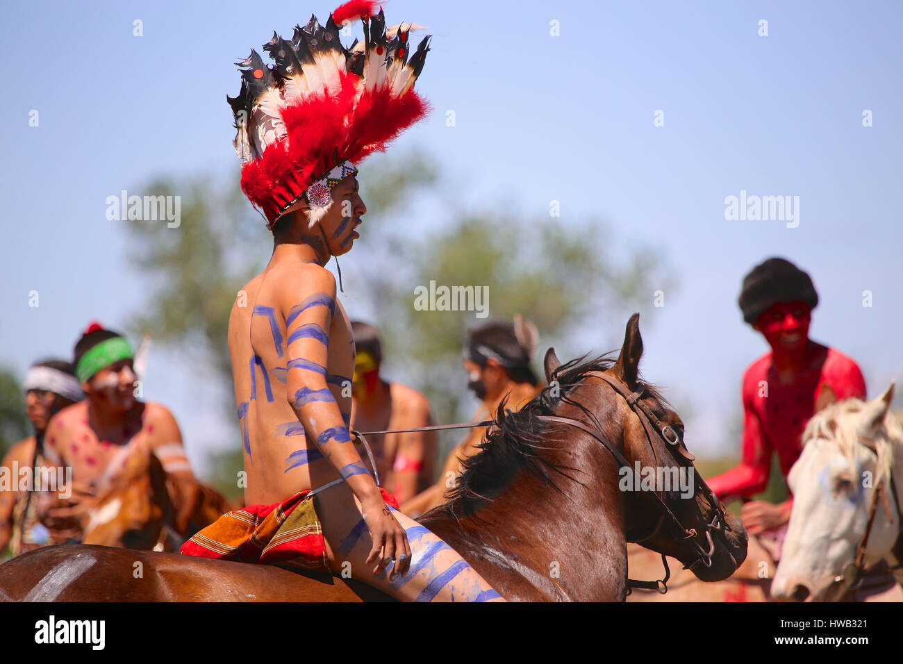 Native American Indians Crazy Horse Battle of Little Big Horn Custer's Last Stand reenactment actor on horseback Stock Photo