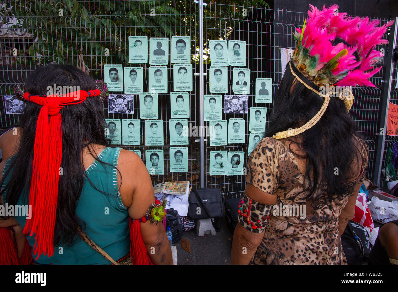 Indian day in Rio de Janeiro, indians put in a wall pictures of people that disappeared in Mexico, Maracanã, - Stock Image