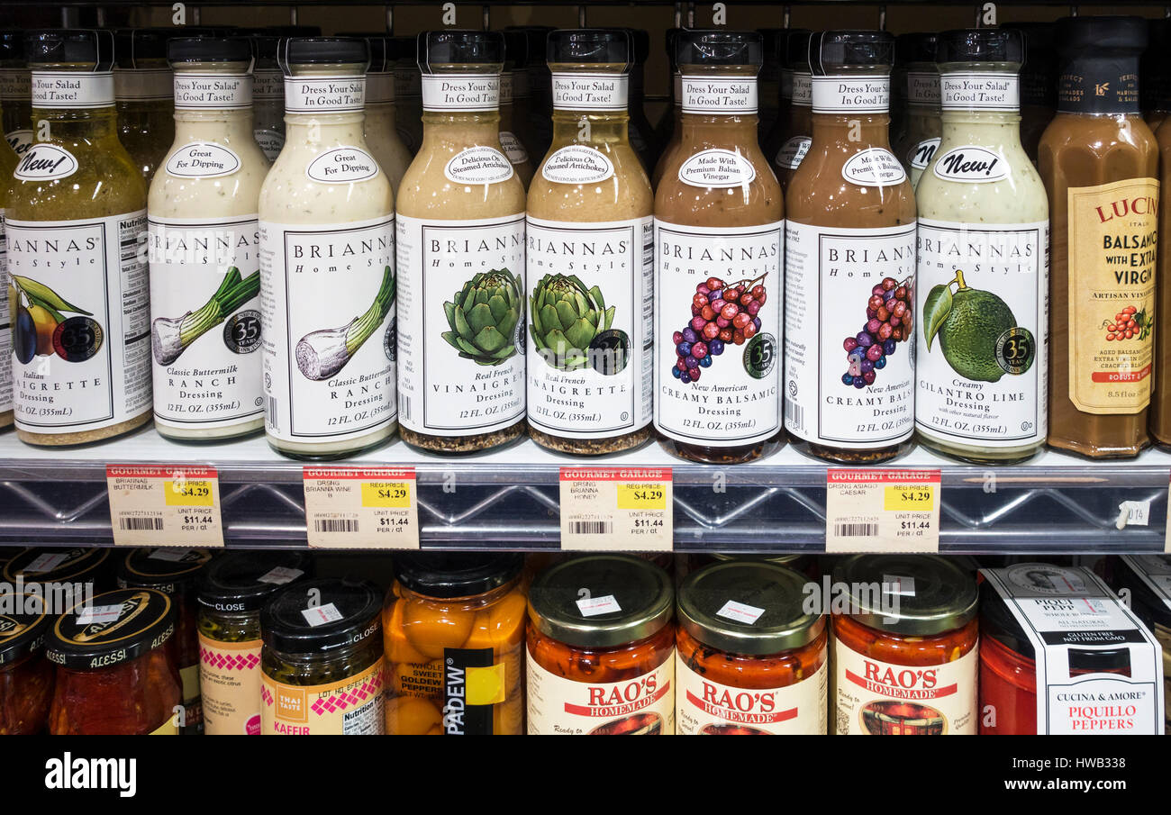 A variety of prepared salad dressings Stock Photo