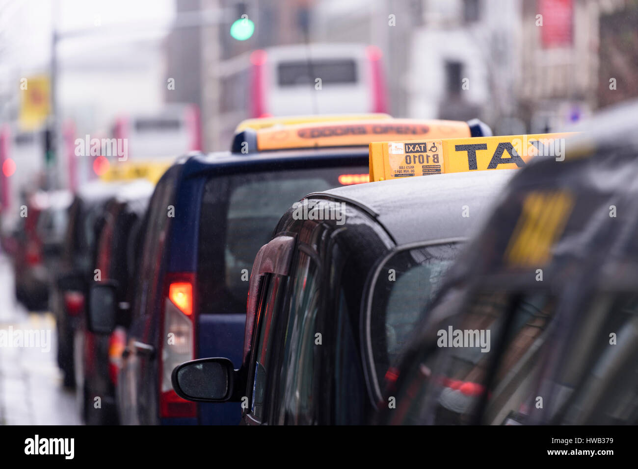 Black London-style taxis with yellow taxi roof signs lined up at a taxi rank outside Belfast City Hall Stock Photo