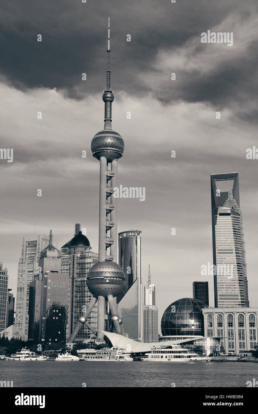 SHANGHAI, CHINA - JUN 1: City view with Oriental Pear tower on June 1, 2013 in Shanghai. Shanghai is the largest - Stock Image