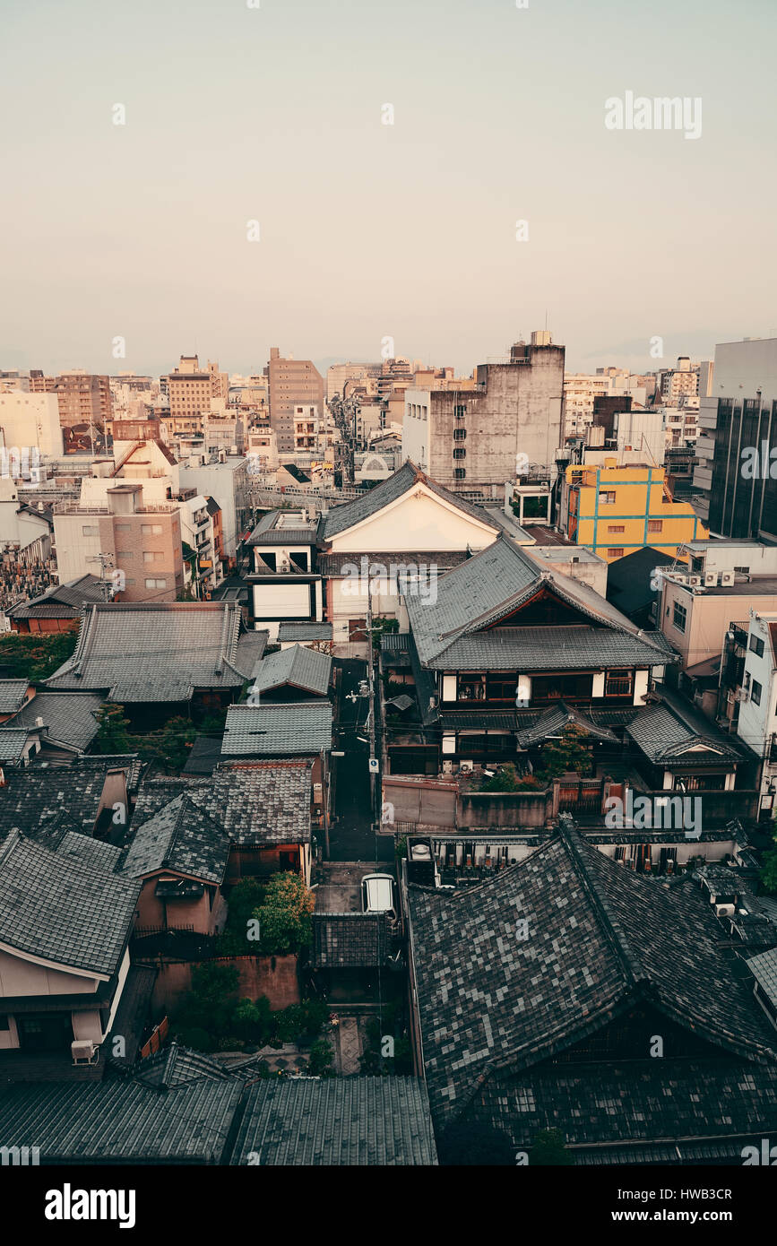 Kyoto city rooftop view from above. Japan. Stock Photo
