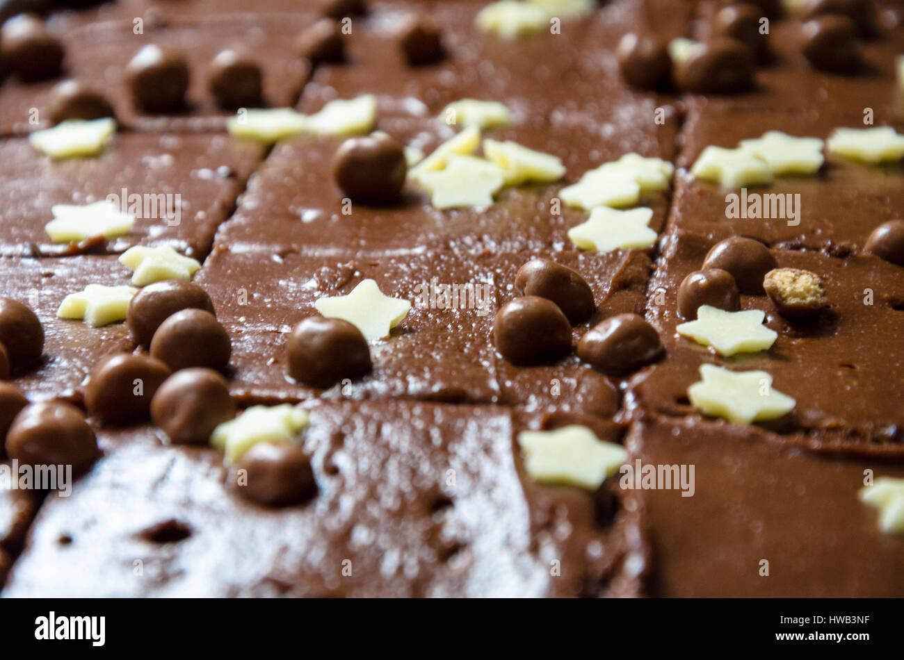 A shop bought chocolate tray bake cake. Stock Photo