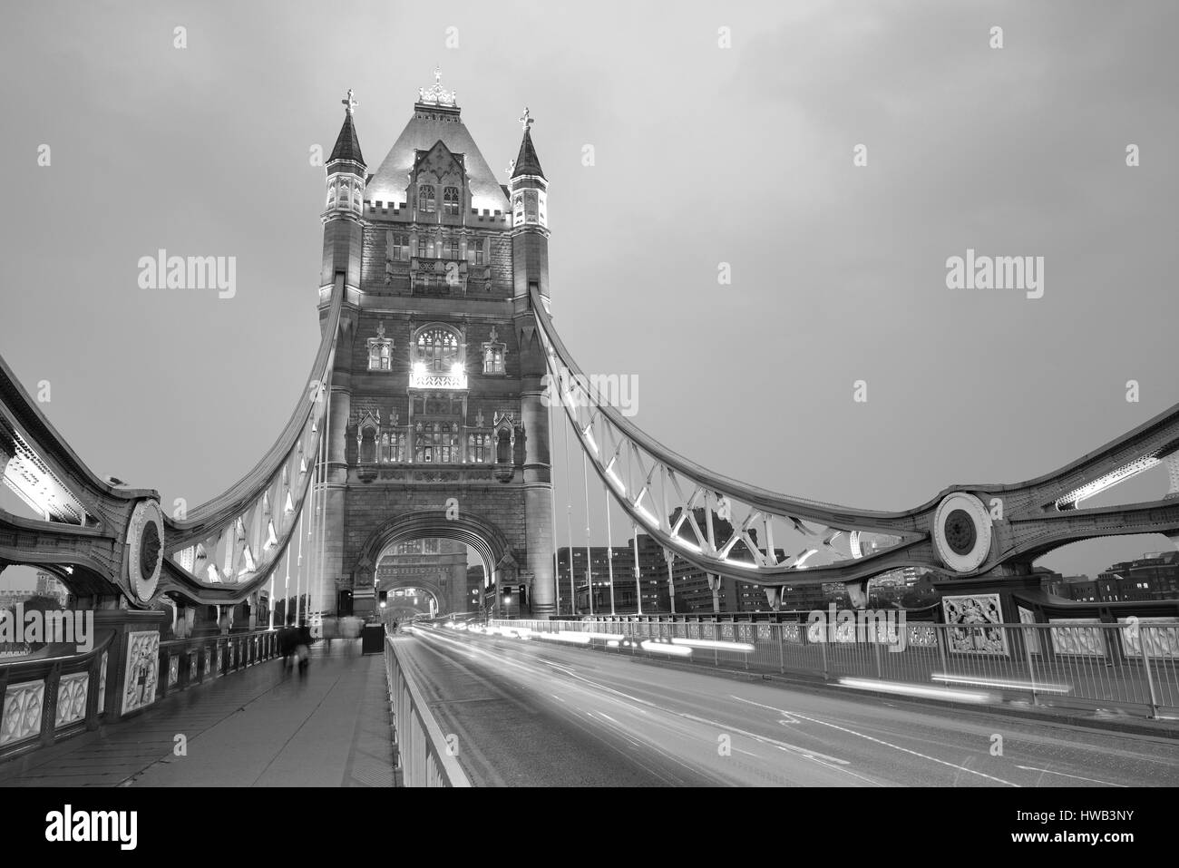 Tower Bridge in London as the famous landmark in black and white - Stock Image