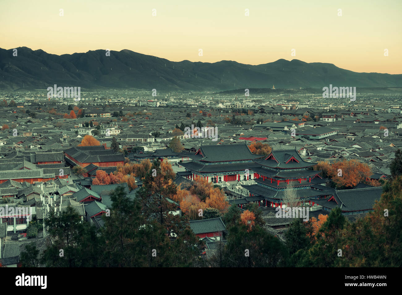 Lijiang mountain top view, Yunnan, China. - Stock Image