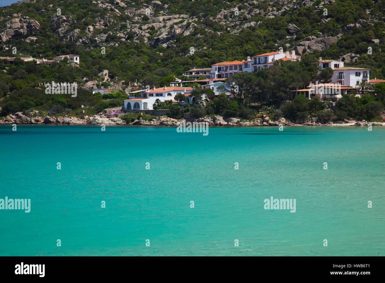 Italy, Sardinia, Northern Sardinia, Costa Smeralda, Baia Sardinia, resort beach - Stock Image