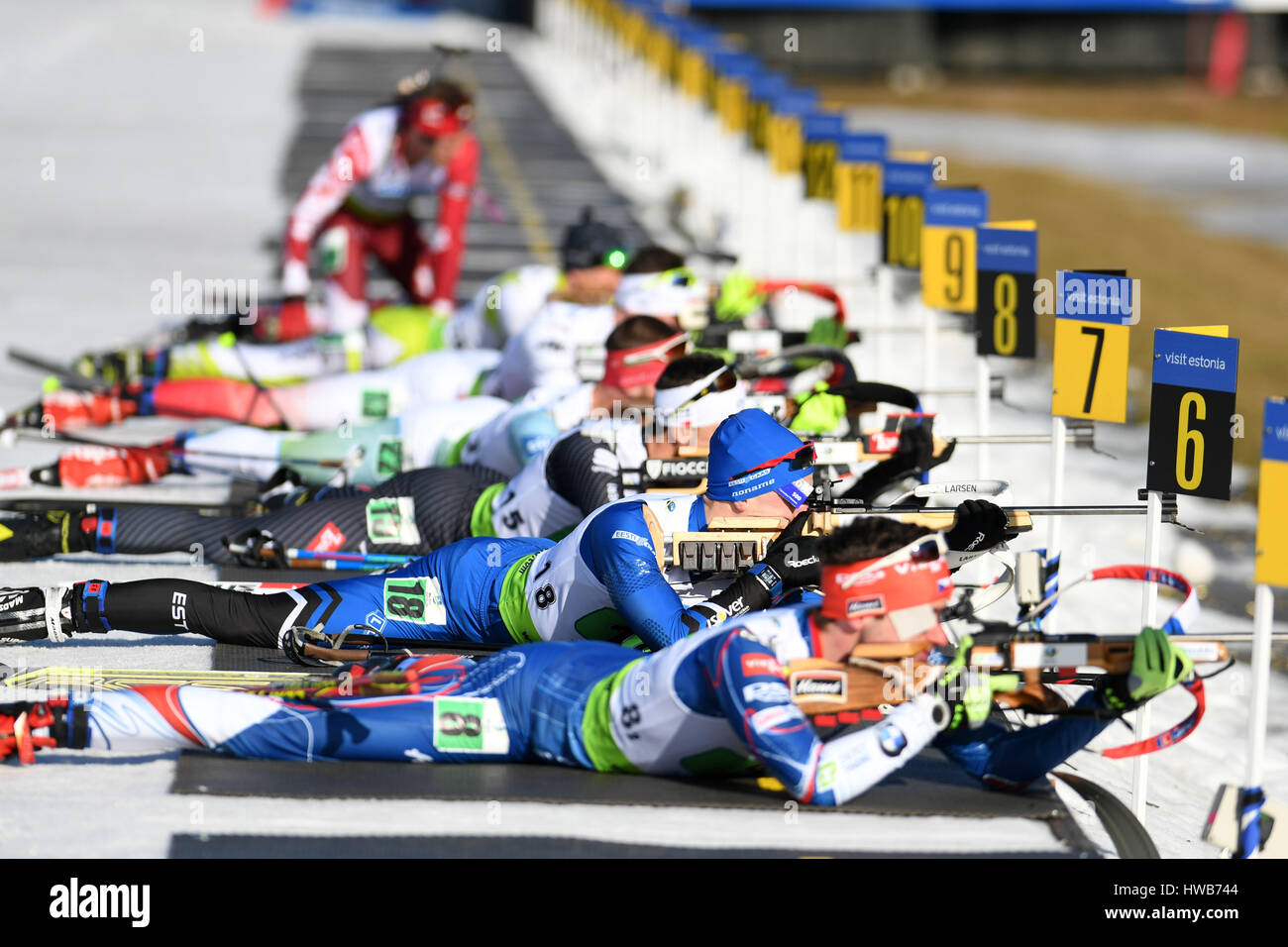 Beijing, Estonia. 12th Mar, 2017. Biathletes compete during the single mixed relay final of IBU Cup 2016/2017 in - Stock Image