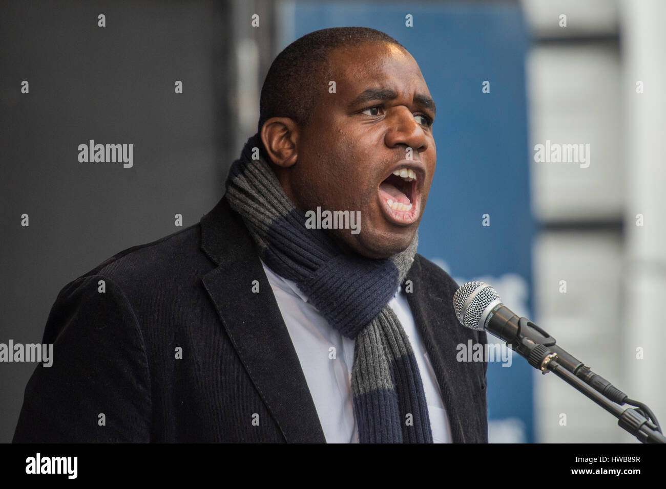 London, UK. 18th March, 2017. David Lammy MP - A march against racism, organised by Stand Up to Racism and supporterd - Stock Image