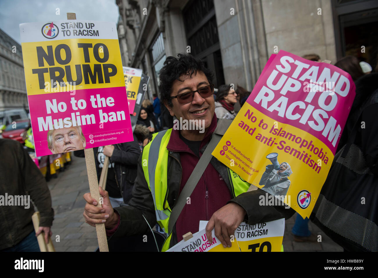 London, UK. 18th March, 2017. A march against racism, organised by Stand Up to Racism and supporterd by the TUC - Stock Image