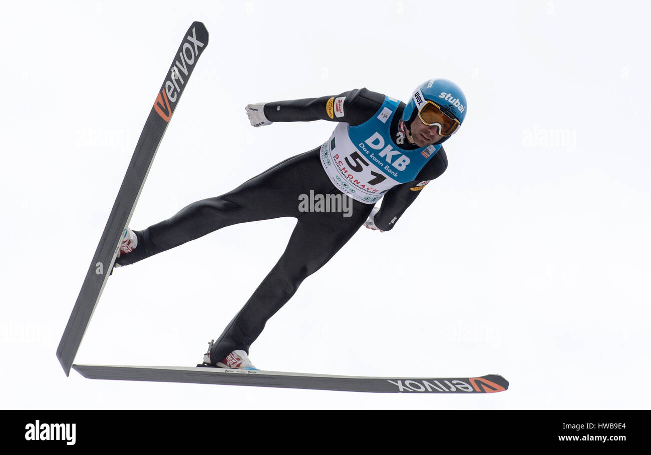 Wilhelm Denifl from Austria in action during the men's final 10km jump on the large hill at the Nordic Combined - Stock Image