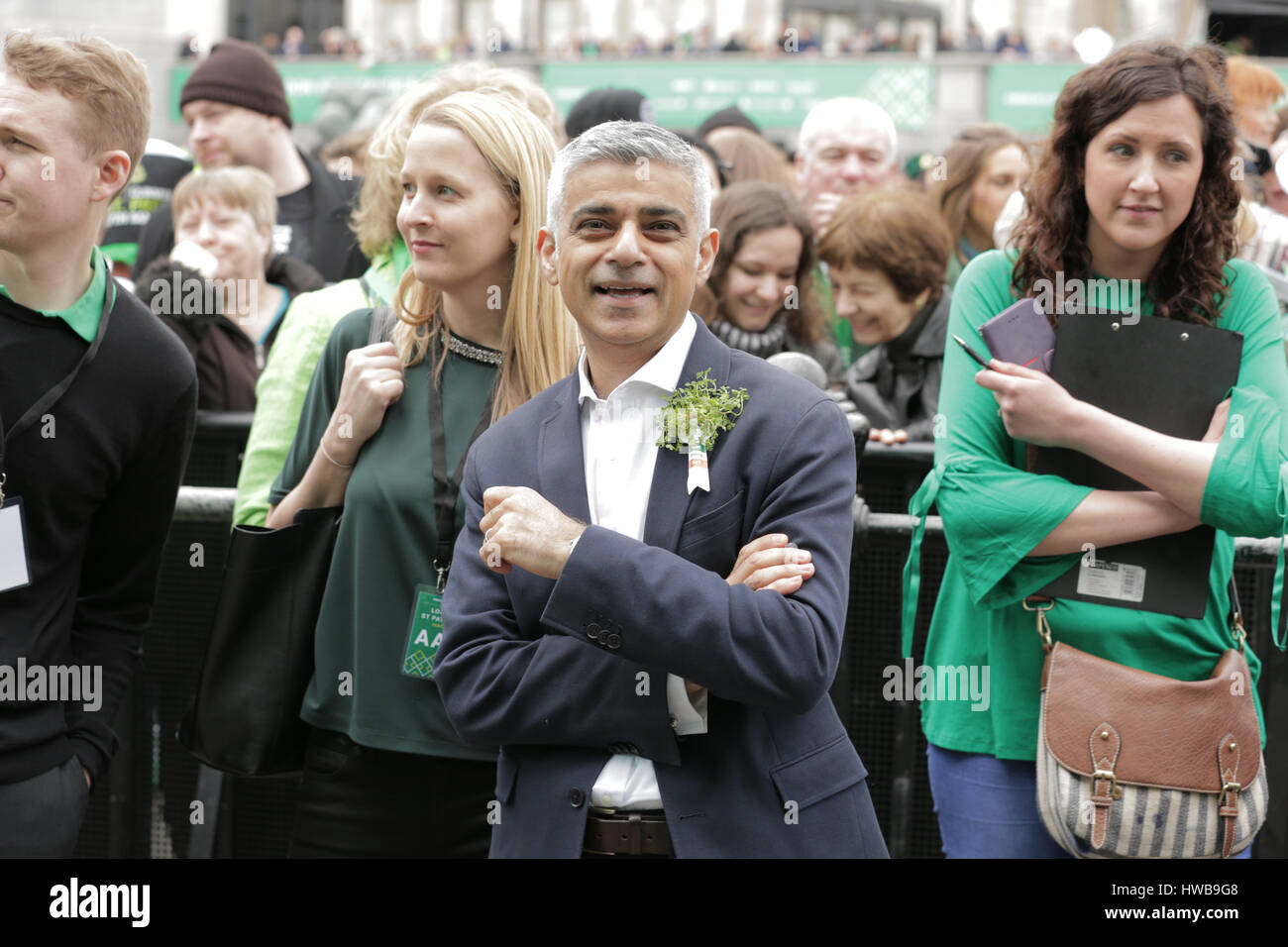 Trafalgar Square, London, UK, 19th March 2017, Sadiq Khan watches the stage performance of the London St Patrick - Stock Image