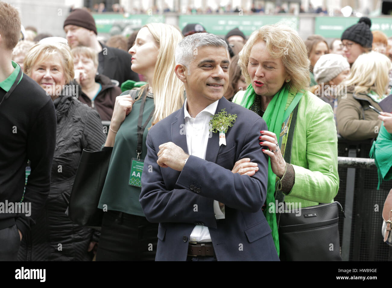 Trafalgar Square, London, UK, 19th March 2017, Sadiq Khan watches the stage performance of the London St Patrick - Stock Image