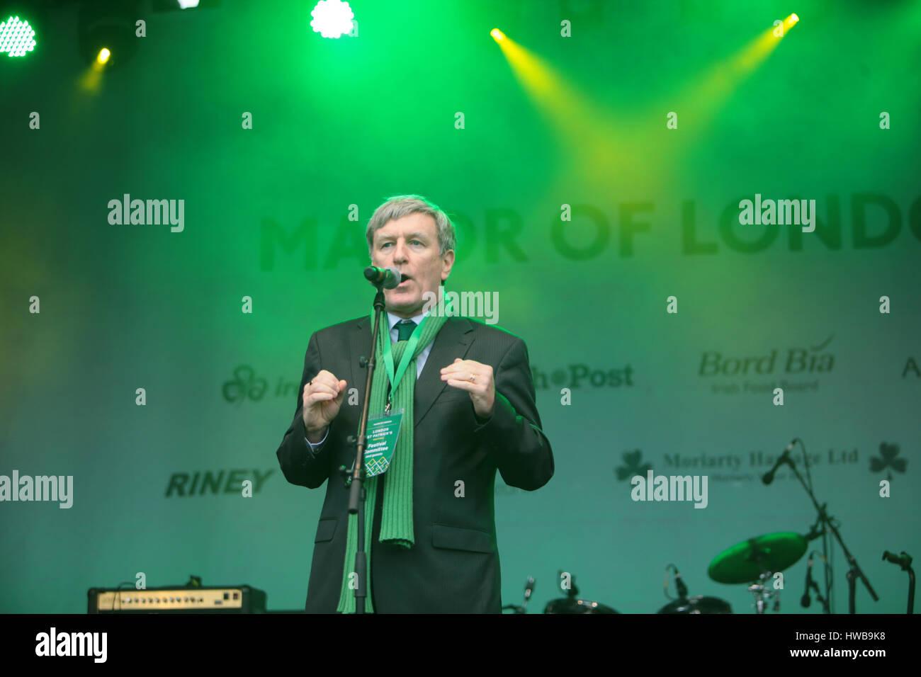London 19 March 2017 Dan Mulhall, Ambassador of Ireland to Great Britain since September 2013 speaking in Trafalgar Stock Photo