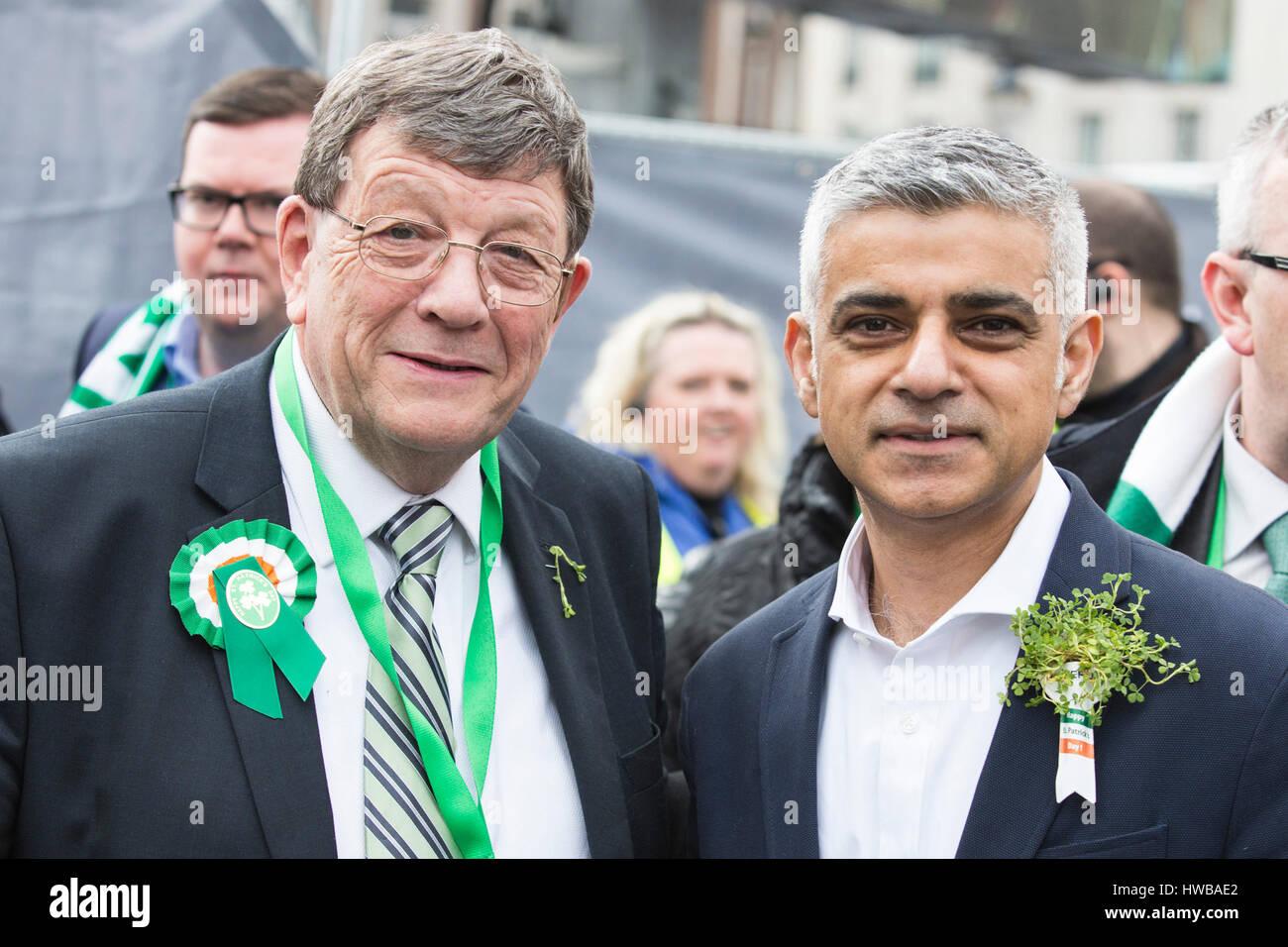 London, UK. 19 March 2017. Pat Doherty MP, Sinn Fein, with London Mayor Sadiq Khan. London celebrates St Patricks - Stock Image
