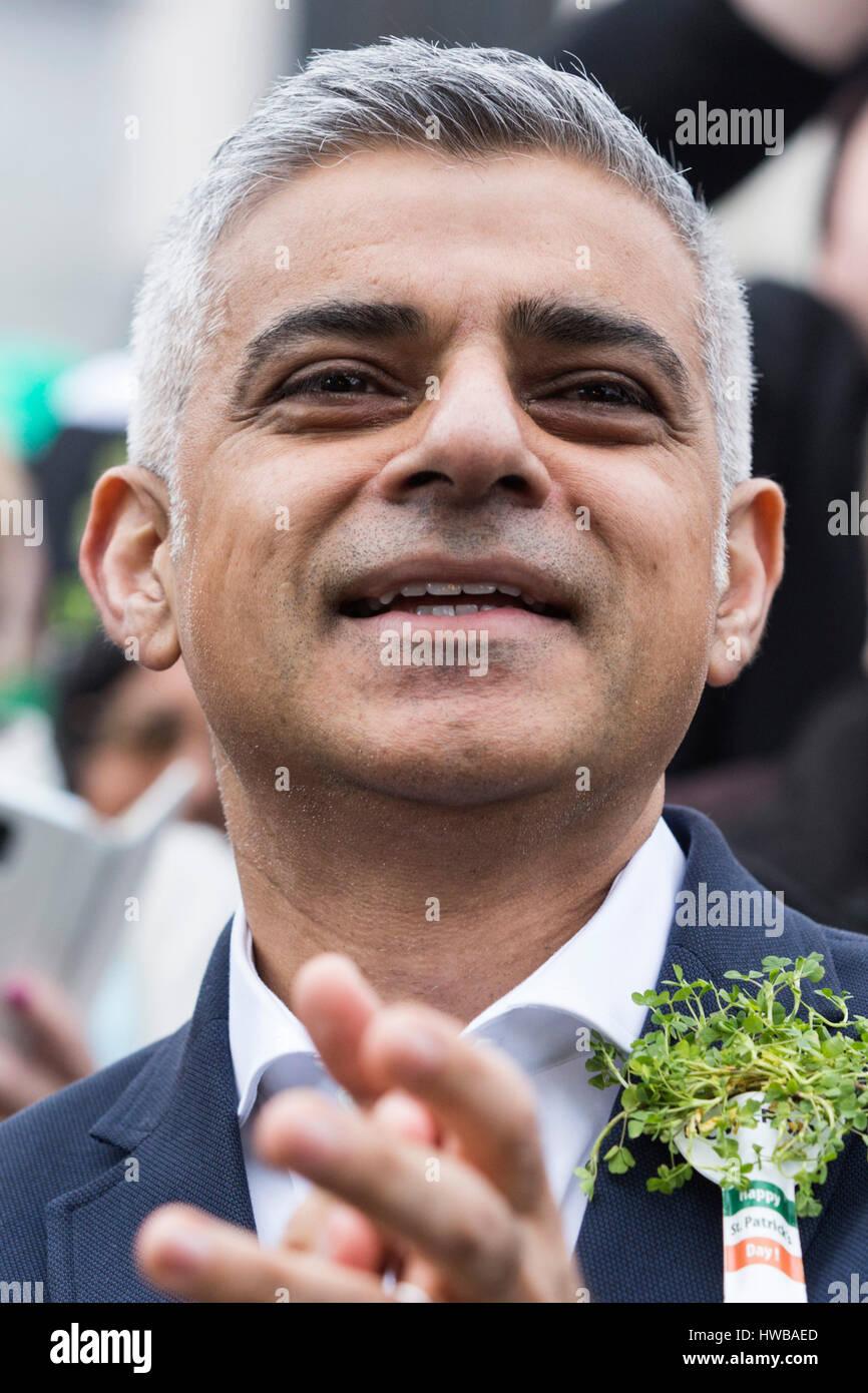 London, UK. 19 March 2017. London Mayor Sadiq Khan. London celebrates St Patricks Day with a parade and a festival. - Stock Image