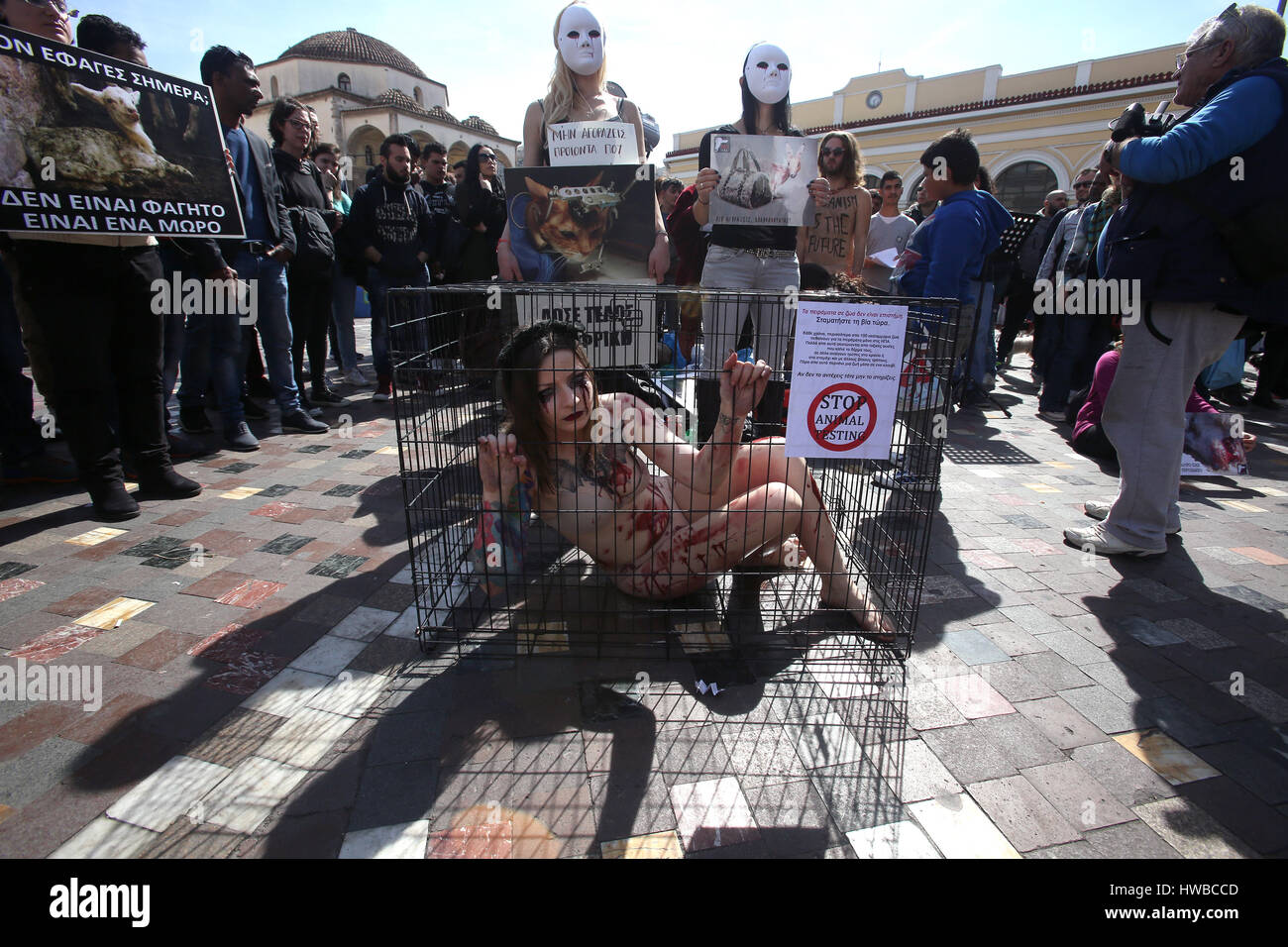 Athens, Greece. 19th Mar., 2017. Activists staged a protest against the mistreatment and abuse of animals in Athens, - Stock Image