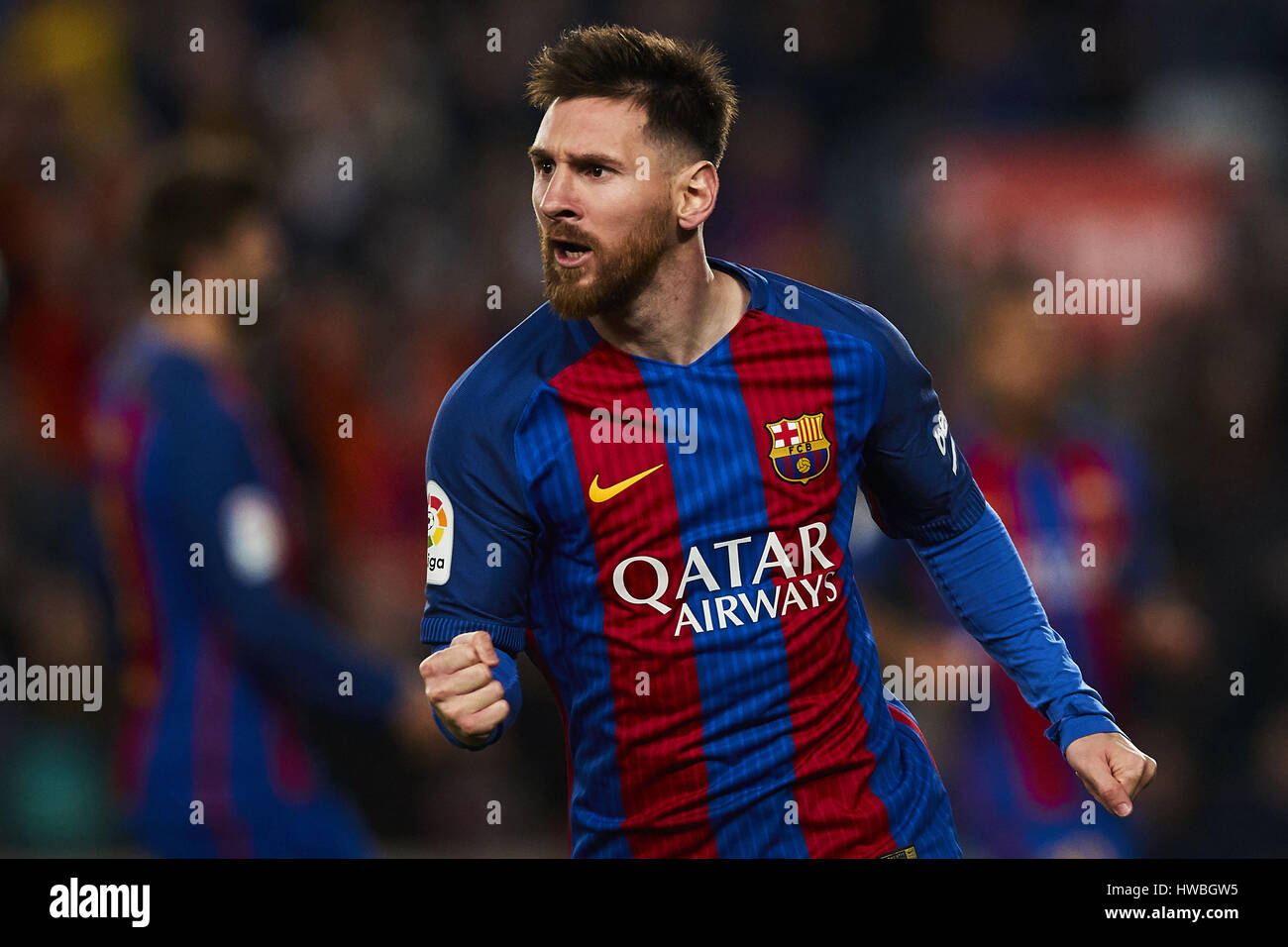 Barcelona, Spain. 19th Mar, 2017. Lionel Messi (FC Barcelona) celebrates after scoring, during La Liga football - Stock Image