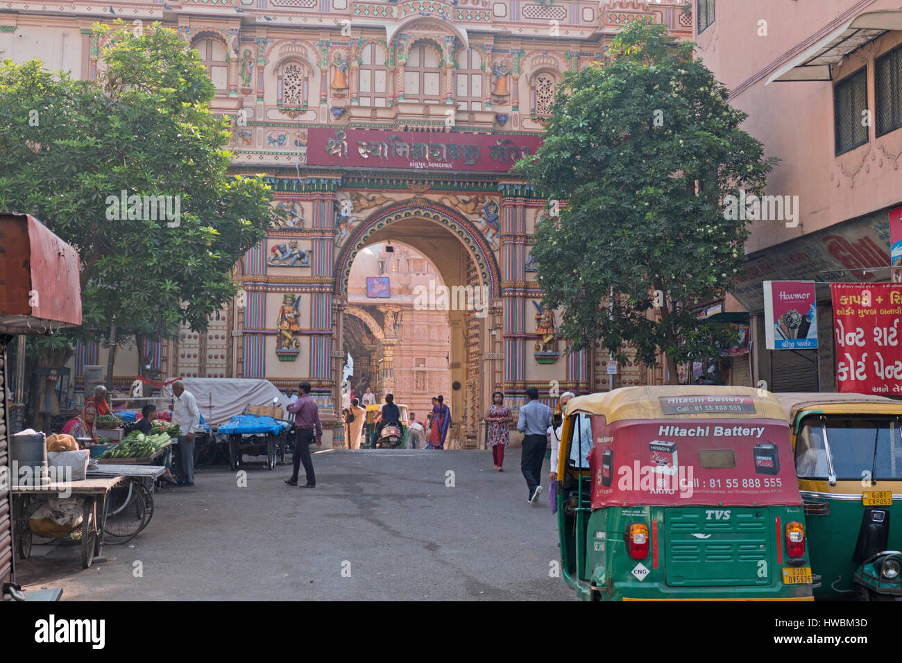 Scene at the central gateway leading to the two hundred years old Shri Swaminarayan Hindu temple in the Kalupur Stock Photo